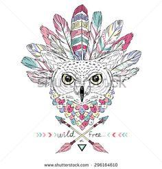 Native American Poster, Indian Owl In War Bonnet, T-Shirt Design Stock Vector Illustration 296164610 : Shutterstock