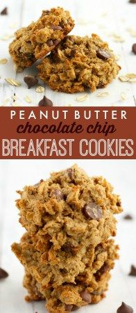 These breakfast cookies are delicious, EASY, and healthy! Peanut butter chocolate chip oatmeal breakfast cookies - refined sugar free, full of fiber and protein, and made in just one bowl! #breakfast