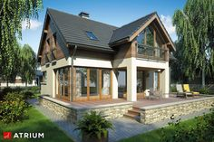 House design with an attic SAMBA III. Usable floor area: What is Art Tropical Architecture, Residential Architecture, Bungalow House Design, Modern House Design, Future House, My House, Samba, Facade House, House Facades