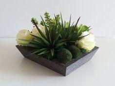 Modern Succulent Floral Arrangement  White by ArtsFloralDesign, $56.00