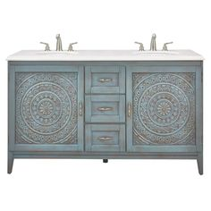 Home Decorators Collection Chennai 61 in. W x 22 in. D Bath Vanity in Blue Wash with Engineered Stone Vanity Top in Crystal White with White Sinks - Home and Garden Decoration Bathroom Doors, Bathroom Renos, Master Bathroom, Vanity Bathroom, Vanity Set, Small Bathroom, Granite Vanity Tops, Engineered Stone, White Sink