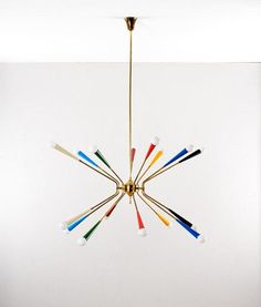 Anonymous; Brass and Enameled Metal Ceiling Lamp, 1950s.