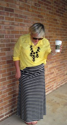 4c93bdc6c Yellow blouse statement necklace with black and white strip maxi skirt  Stripped Maxi Skirts, Maxi
