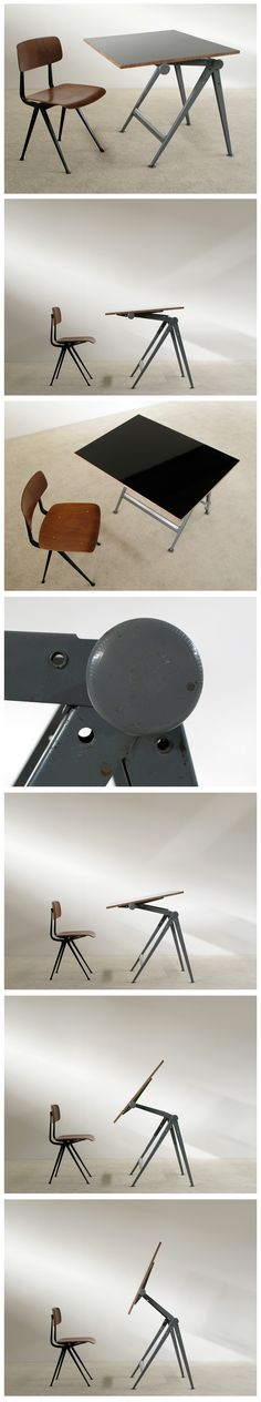 Industrial Reply drafting table and chair by Wim Rietveld.  Result chair by Friso Kramer.
