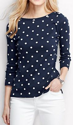Women's 3/4-sleeve Button Boatneck Top