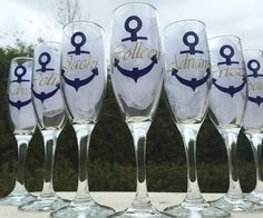 ***See Shop Announcements for my current turn around time****  These champagne flutes are perfect for a Nautical themed wedding. Colors can be