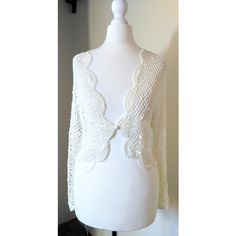 Pretty Ivory Crochet Bolero Cardigan Shrug Top Size 14/16 ($13) ❤ liked on Polyvore featuring tops