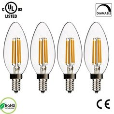 SUPERNIGHT 4W Dimmable Filament Candelabra Clear LED Bulbs, 2700K Warm White, E12 Base C35 LED Candle Light Bulb, 40W Incandescent Replacement, 4 Pack * Check out the image by visiting the link. #FlamlessCandle