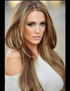 Brown hair with blond and Carmel high lights cute straight look..!
