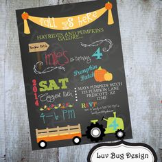 HAYRIDE Pumpkin Patch Birthday Party Printable by luvbugdesign, $14.00