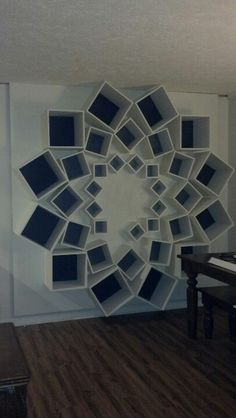 """Star bookcase 8x8 dimensions. 14"""", 10"""", & 6"""" boxes. Gotta put up the last box and add my books! :)"""