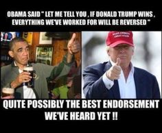 The huge win of Trump shows the America's rejection of Bozo Obummer policies. Killary Rotten Clinton would of have been 4 more years of extending Obama policy. Trump Is My President, Vote Trump, Trump Wins, Pro Trump, Political Memes, Political Views, Political Topics, Conservative Memes, Funny Posters