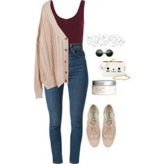Polyvore teen fashion outfit - comfy cardigan, high waisted skinny jeans. great for a casual day, rainy day, or school day.