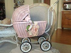 TREASURY ITEMAntique pink wicker shabby chic doll carriage | @FarmhouseMemories | Wicker Paradise Blog.