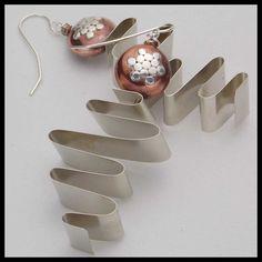 SWIRLS  Handforged German Silver  Copper by sandrawebsterjewelry