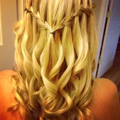 Curly waterfall braid. For miss sassy's kindergarten graduation.