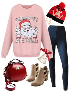 Women's Christmas Santa Graphic Long Sleeve Pullover Sweatshirt