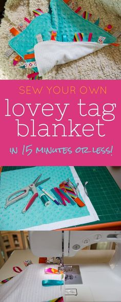 DIY Lovey Tag Blanket This tag blanket takes less than 15 minutes to sew and makes a great baby shower gift! tag blanket takes less than 15 minutes to sew and makes a great baby shower gift! Baby Sewing Projects, Sewing For Kids, Sewing Crafts, Sewing Tips, Sewing Ideas, Quilt Baby, Diy Baby Gifts, Baby Crafts, Baby Shower Gifts To Make