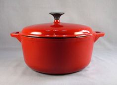 KITCHEN LIVING ENAMEL WARE CAST IRON DUTCH OVEN RED NEW in BOX #KitchenLiving