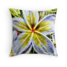 Single Frangipani Fractal throw pillow by Tracey Lee Art Designs