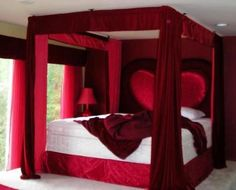 Romantic bedroom designs for your home. Latest and unique romantic bedroom interior. Red Bedroom Design, Romantic Bedroom Design, Bedroom Red, Couple Bedroom, Bedroom Colors, Bedroom Decor, Romantic Bedrooms, Red Bedrooms, Canopy Bedroom