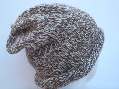 Brown Adult Slouchy Beanie   Hand Knit Wool Hat by SwedetteKnits
