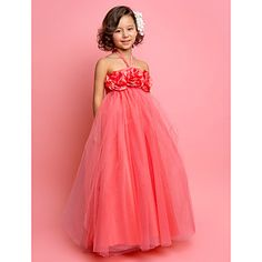 A-line Halter Floor-length Tulle Flower Girl Dress – USD $ 87.29 -This dress is available in all shades of purple.