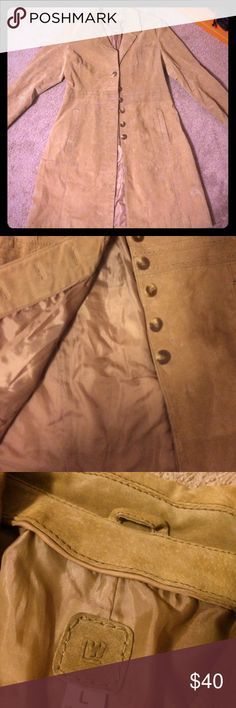 Leather suede coat jacket sweet leather suede creamy tan color with side pockets buttons, cinched waist split in the back needs to go to the dry cleaner no major stains or anything like that just needs to be refreshed very shape flattering almost like a line 🤗💖 L.W Jackets & Coats Pea Coats