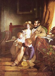 Rudolf von Arthaber with his Children, 1837, Gallery Belvedere / Vienna. Buy this painting as premium quality canvas art print from Modarty Art Gallery. #art, #canvas, #design, #painting, #print, #poster, #decoration