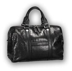 HOGAN - Bauletto dal carattere rétro, in pelle nera a stampa cocco, con accessori in metallo brunito e tracolla rimovibile.