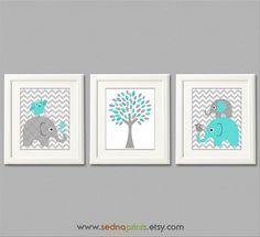Turquoise en grijs kwekerij Art Print olifant vogel door SednaPrints