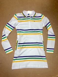0d3035f5a Poree's Embroidery · Products · Mardi Gras Girls Thin Striped Polo Shirt  Dress