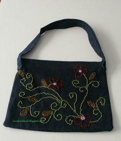boncuk işlemeli kot çanta