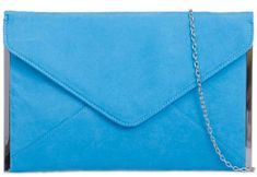 a61e4a2612f4 Blue faux suede slim envelope style clutch bag shoulder bag with silver  tone trim to the