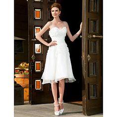 A-line+Sweetheart+Knee-length+Organza+Wedding+Dress++–+USD+$+149.99
