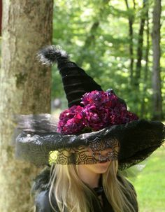 A personal favorite from my Etsy shop https://www.etsy.com/listing/161031355/witch-hat-small-spider-web-veil-large