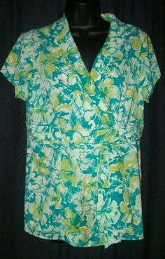 $9.99   Chadwicks Blue Green Floral Cap Sleeve Blouse Top 10