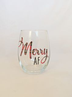 Merry AF Wine Glass - Christmas Wine Glass Work Wife, Wine By The Glass, Christmas Wine, Red Glitter, Merry, Unique Jewelry, Tableware, Handmade Gifts, Kid Craft Gifts