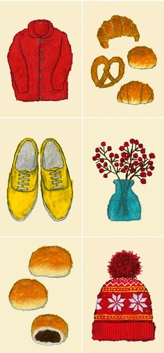 Cheerful drawings of everyday objects, by Japanese artist and children's illustrator Yusuke Yonezu.  Courtesy of The Jealous Curator.