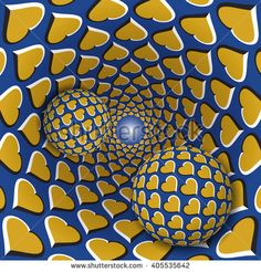 #Optical #illusion #illustration. Two balls with a hearts pattern are moving on rotating golden hearts blue funnel. Abstract fantasy in a surreal style.