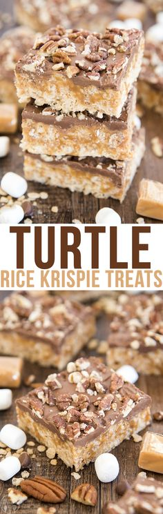 These turtle rice krispie treats have marshmallow rice krispie treats topped with a melty caramel layer, rich chocolate and crunchy salty pecans! They're an amazing sweet and salty treat. These bars are rich and perfect for sharing!
