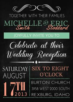 Reception only invitation wording wedding help tips pinterest vintage chalkboard inspired wedding invitation great to convert into a bridal shower invite baby second wedding invitationsreception only filmwisefo
