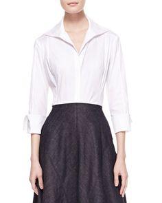 3/4-Sleeve Poplin Blouse, White by Donna Karan at Bergdorf Goodman.