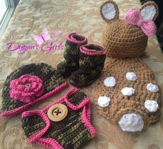 Crochet by Dugan's Girls {Newborn Photo Prop ~ Camo newsboy hat, diaper cover & boots} {Fawn Cuddle Cape & hat}