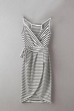 Wrap Front Stripe Pattern Random Knot Direction Irregular Hem Midi Dress  - US$19.95 -YOINS