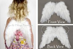 Check out FEATHER ANGEL WINGS w/ elastic straps, Children's Costume Accessory, White, Newborn, Toddler, Girls, Baby, Christmas, Infant, Photo Prop, on wingsnthings13