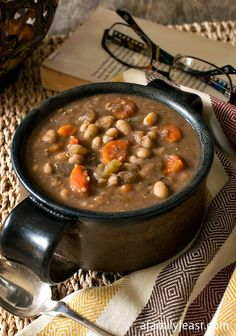 This Tuscan white bean soup is so hearty and can be served at any time of the day.