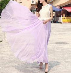 Light purple Chiffon skirt Maxi Skirt Wedding skirt Silk Chiffon Dress Plus size skirt Long Holiday Dress Sundress Dancing skirt