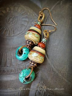 Hoops Enameled Glass Lampwork Glass Rustic SouthWest by YuccaBloom