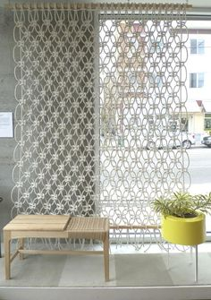 Decoration, White Color Of Picture With Theme About Rope Room Divider With Some Different Shape Design Color Material Of Rope Room Divider For Your Home That Look So Cool With Gray Wall Color Paint And Soft Brown Wood Chairs And A Plant ~ Some Kinds Of Room Divider And One Of Them Is Rope Room Devider